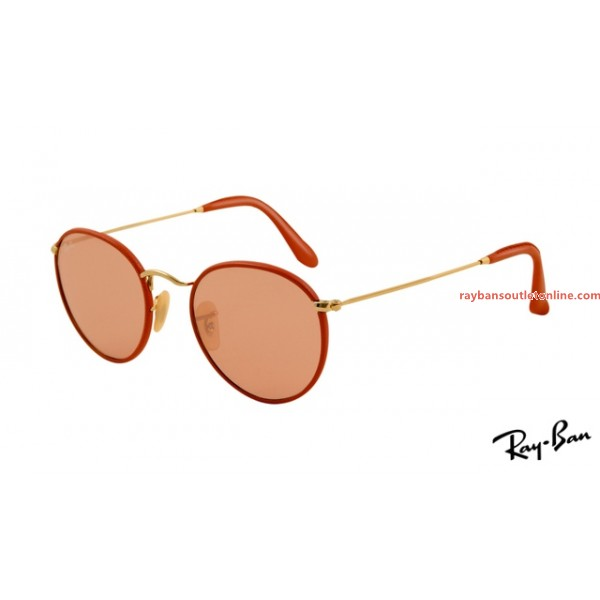 fake Ray Ban RB3475Q Round Sunglasses red frame / pink lens